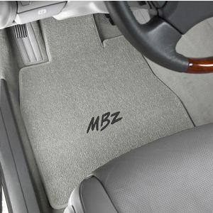 Lloyd Mats ® - Classic Loop Grey Front Floor Mats For Mercedes-Benz with MBZ Embroidery