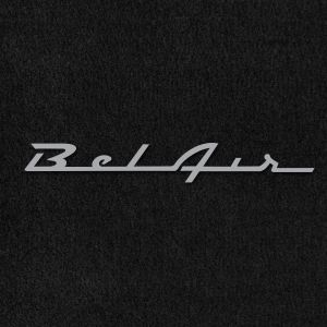 Lloyd Mats ® - Velourtex Black Front Floor Mats For Chevrolet Bel Air 1953-1975 With Bel Air Silver Embroidery