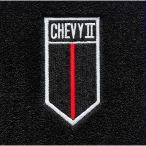 Lloyd Mats ® - Velourtex Black Front Floor Mats For Chevrolet Chevy II 1966-67 with Chevy II Crest