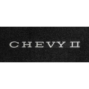 Lloyd Mats ® - Velourtex Black Front Floor Mats For Chevrolet Chevy II 1968-74 with Chevy II Embroidery