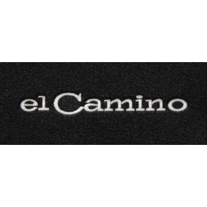 Lloyd Mats ® - Velourtex Black Front Floor Mats For Chevrolet El Camino 1968-69 With El Camino Silver Embroidery