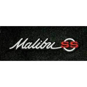 Lloyd Mats ® - Velourtex Black Front Floor Mats For Chevrolet Malibu 1964-65 with Malibu SS Silver/Red Embroidery