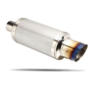 NRG ® - 3 Inches Inlet Silver Carbon Muffler with Burnt Tip (MFL-210A)