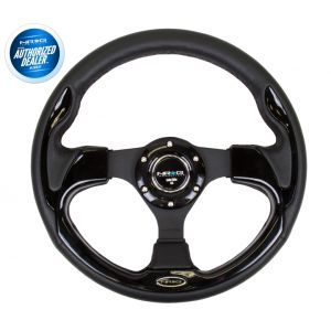 NRG ® - 320mm Sport Black Leather Steering Wheel with Black Trim (RST-001BK)