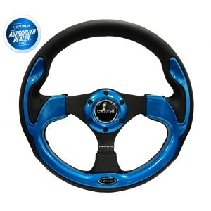NRG ® - 320mm Sport Black Leather Steering Wheel with Blue Trim (RST-001BL)