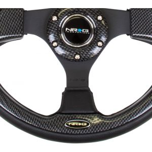 NRG ® - 320mm Sport Black Leather Steering Wheel with Carbon Fiber Look Trim (RST-001CBL)