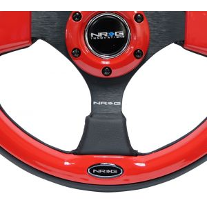 NRG ® - 320mm Sport Black Leather Steering Wheel with Red Trim (RST-001RD)