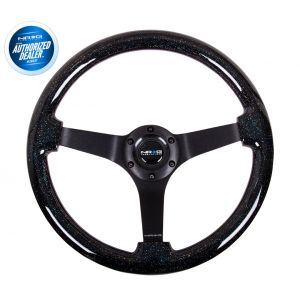 NRG ® - Black Sparkled Wood Grain Steering Wheel 3 Inch Deep with 3 Black Spoke Center (ST-036BSB-BK)