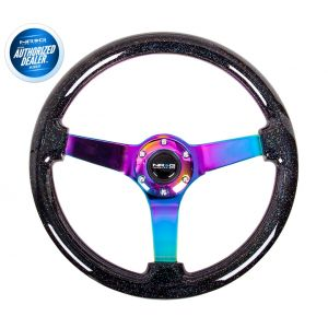NRG ® - Black Sparkled Wood Grain Steering Wheel 3 Inch Deep with 3 NeoChrome Spoke Center (ST-036BSB-MC)