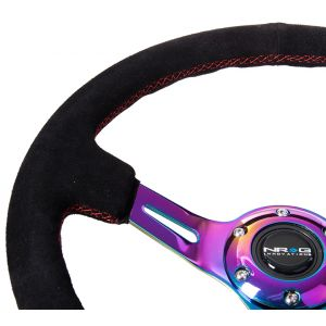NRG ® - Black Suede Steering Wheel 3 Inch Deep with Red Stitch and Neochrome Spokes (ST-055S-MCRS)