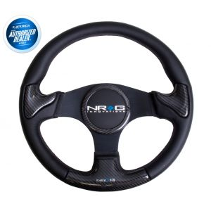 NRG ® - Carbon Fiber Steering Wheel Black Frame with Black Stitching and Rubber Cover Horn Button (ST-009CFBS)