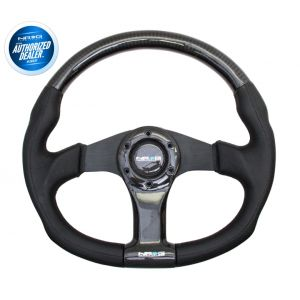 NRG ® - Carbon Fiber Steering Wheel Oval Shape 350mm with Black Spokes (ST-013CFBK)