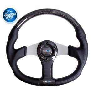 NRG ® - Carbon Fiber Steering Wheel Oval Shape with Silver Spokes (ST-013CFSL)