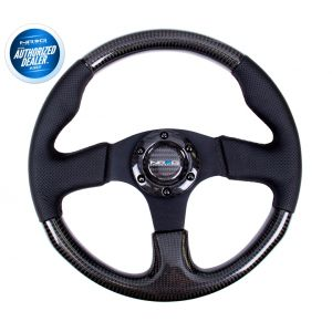 NRG ® - Carbon Fiber Steering Wheel with Black Leather Combination and Black Stitching (ST-310CFBS)