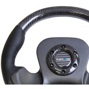 NRG ® - Carbon Fiber Steering Wheel with Black Leather combination and Carbon Fiber Center Plate (ST-X10CF)