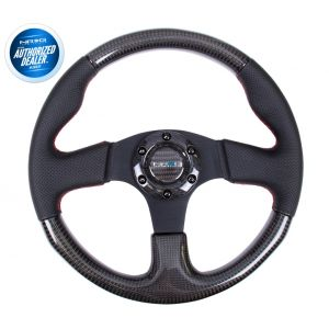 NRG ® - Carbon Fiber Steering Wheel with Black Leather Combination and Red Stitching (ST-310CFRS)