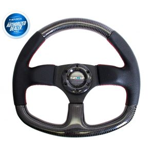 NRG ® - Carbon Fiber Steering Wheel with Flat Bottom and Red Stitching (ST-009CFRS)