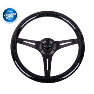 NRG ® - Classic Black Sparkled Wood Grain Steering Wheel with 3 Black Spokes (ST-015BK-BSB)