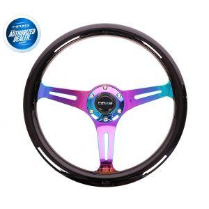 NRG ® - Classic Black Wood Grain Steering Wheel with 3 NeoChrome Spokes (ST-015MC-BK)
