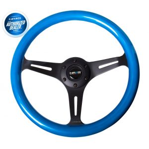 NRG ® - Classic Blue Pearl Wood Grain Steering Wheel with 3 Black Spokes (ST-015BK-BL)