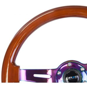 NRG ® - Classic Dark Wood Grain Steering Wheel 3 Inch Deep with 3 NeoChrome Spoke Center (ST-055BR-MC)