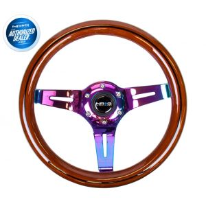 NRG ® - Classic Dark Wood Grain Steering Wheel with Black Line Inlay and 3 NeoChrome Spokes (ST-310BRB-MC)