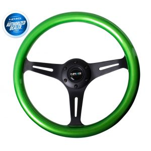 NRG ® - Classic Green Pearl Wood Grain Steering Wheel with 3 Black Spokes (ST-015BK-GN)
