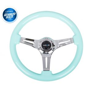 NRG ® - Classic Minty Fresh Wood Grain Steering Wheel with 3 Chrome Spokes (ST-015CH-MF)