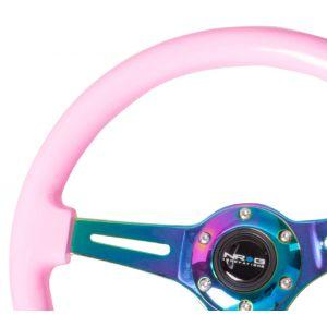 NRG ® - Classic Pink Wood Grain Steering Wheel with 3 NeoChrome Spokes (ST-015MC-PK)