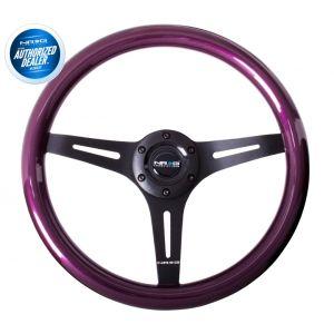 NRG ® - Classic Purple Pearl Wood Grain Steering Wheel with 3 Black Spokes (ST-015BK-PP)