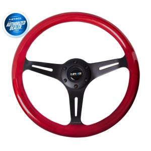 NRG ® - Classic Red Pearl Wood Grain Steering Wheel with 3 Black Spokes (ST-015BK-RD)