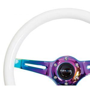 NRG ® - Classic White Wood Grain Steering Wheel Glow in Dark with 3 NeoChrome Spokes (ST-015MC-GL)