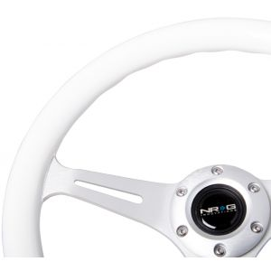 NRG ® - Classic White Wood Grain Steering Wheel with 3 Brushed Aluminum Spokes (ST-015CH-WT)