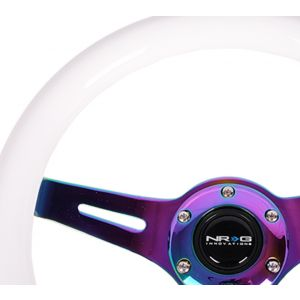 NRG ® - Classic White Wood Grain Steering Wheel with 3 NeoChrome Spokes (ST-310WT-MC)