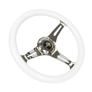 NRG ® - Classic White Wood Grain Steering Wheel with Blue Glow in Dark and 3 Chrome Spokes (ST-015CH-GLBL)