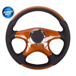 NRG ® - Classic Wood Grain Steering Wheel Black Leather with Wood Accents and 4 Wood Spoke Center (ST-085)