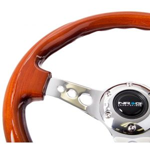 NRG ® - Classic Wood Grain Steering Wheel with 3 Chrome Spoke Center (ST-035CH)