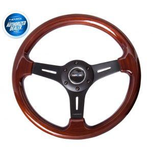 NRG ® - Classic Wood Grain Steering Wheel with 3 Matte Black Spoke Center (ST-015-1BK)