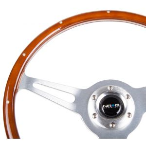 NRG ® - Classic Wood Grain Steering Wheel with Metal Accents and 3 Polished Aluminum Spoke Center (ST-065)