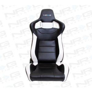 NRG ® - Left Black PVC Sport Racing Seat with White Stitch and NRG Logo (RSC-700L)