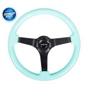 NRG ® - Minty Fresh Wood Grain Steering Wheel 3 Inch Deep with 3 Black Spoke Center (ST-036MF-BK)