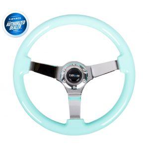 NRG ® - Minty Fresh Wood Grain Steering Wheel 3 Inch Deep with 3 Chrome Spoke Center (ST-036MF-CH)