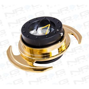 NRG ® - Quick Release Black Body and Chrome Gold Ring with Handles (SRK-650BK-C/GD)