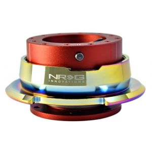 NRG ® - Quick Release Red Body with Diamond Cut Neochrome Ring (SRK-280RD-MC)