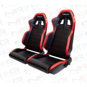 NRG ® - Right and Left Black PVC Sport Racing Seats with Red Stitch, side contrast and NRG Logo (RSC-206R/RSC-206L)
