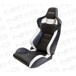 NRG ® - Right and Left Black PVC Sport Racing Seats with White Stitch and NRG Logo (RSC-700R/RSC-700L)