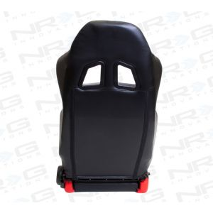 NRG ® - Right Black PVC Sport Racing Seat with Red Stitch, side contrast and NRG Logo (RSC-206R)