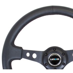 NRG ® - Sport Black Leather Steering Wheel 3 Inch Deep with Black Spokes (ST-006BK)