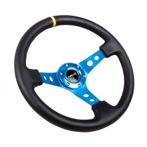 NRG ® - Sport Black Leather Steering Wheel 3 Inch Deep with Blue Spokes and Yellow Marking (ST-006R-BL-Y)