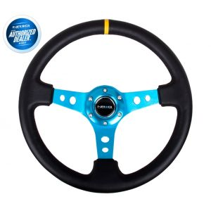 NRG ® - Sport Black Leather Steering Wheel 3 Inch Deep with New Blue Spokes and Center Marking (ST-006R-NB-Y)